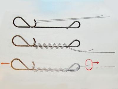 Привязывание приманки к плетеной леске при помощи безузловой застежки (наглядная схема вязки)