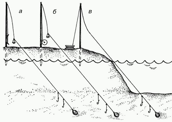 Схема строения донной снасти закидушки
