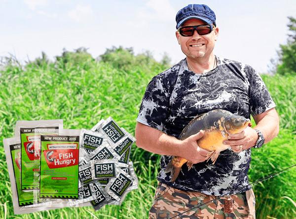 Мужчина поймал рыбу с активатором клёва Fish Hungry