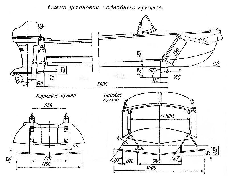 Схема установки подводных крыльев