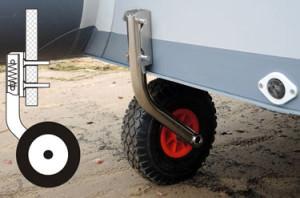 Транцевое колесо на ПВХ лодке