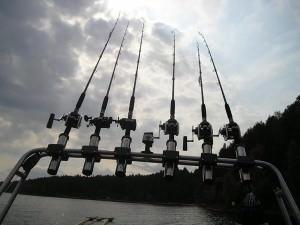Троллинг - это ловля закрепленными на глиссирующей лодке удилищами в проводку