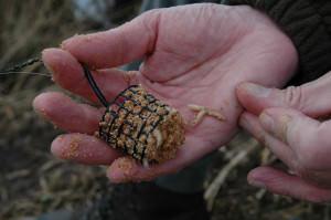 Фидерная кормушка для ловли леща с добавлением в прикормку опарыша