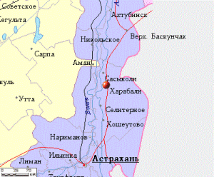 Город Харабали на карте